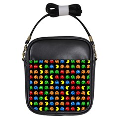 Pacman Seamless Generated Monster Eat Hungry Eye Mask Face Rainbow Color Girls Sling Bags by Mariart