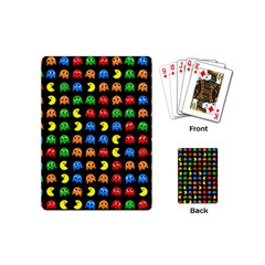 Pacman Seamless Generated Monster Eat Hungry Eye Mask Face Rainbow Color Playing Cards (mini)  by Mariart