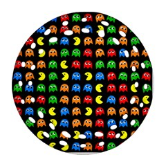 Pacman Seamless Generated Monster Eat Hungry Eye Mask Face Rainbow Color Ornament (round Filigree) by Mariart