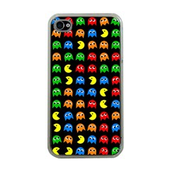 Pacman Seamless Generated Monster Eat Hungry Eye Mask Face Rainbow Color Apple Iphone 4 Case (clear) by Mariart