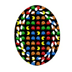 Pacman Seamless Generated Monster Eat Hungry Eye Mask Face Rainbow Color Oval Filigree Ornament (two Sides) by Mariart