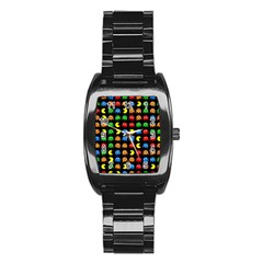 Pacman Seamless Generated Monster Eat Hungry Eye Mask Face Rainbow Color Stainless Steel Barrel Watch by Mariart