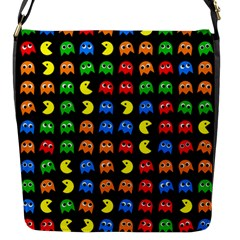 Pacman Seamless Generated Monster Eat Hungry Eye Mask Face Rainbow Color Flap Messenger Bag (s) by Mariart