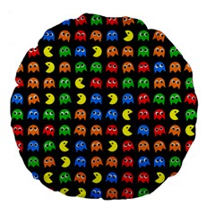 Pacman Seamless Generated Monster Eat Hungry Eye Mask Face Rainbow Color Large 18  Premium Flano Round Cushions by Mariart