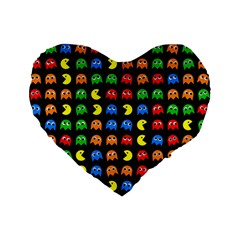 Pacman Seamless Generated Monster Eat Hungry Eye Mask Face Rainbow Color Standard 16  Premium Flano Heart Shape Cushions by Mariart