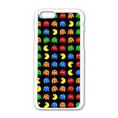 Pacman Seamless Generated Monster Eat Hungry Eye Mask Face Rainbow Color Apple Iphone 6/6s White Enamel Case by Mariart