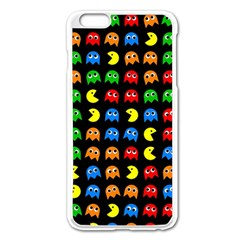 Pacman Seamless Generated Monster Eat Hungry Eye Mask Face Rainbow Color Apple Iphone 6 Plus/6s Plus Enamel White Case by Mariart