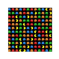 Pacman Seamless Generated Monster Eat Hungry Eye Mask Face Rainbow Color Small Satin Scarf (square) by Mariart