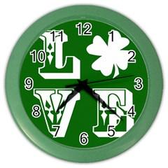 Parks And Tally Love Printable Green Color Wall Clocks
