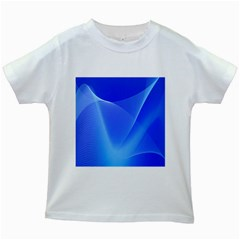 Line Net Light Blue White Chevron Wave Waves Kids White T Shirts