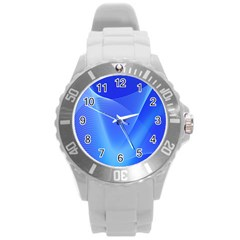 Line Net Light Blue White Chevron Wave Waves Round Plastic Sport Watch (l) by Mariart