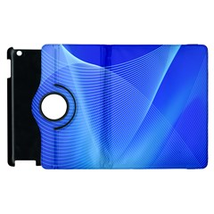 Line Net Light Blue White Chevron Wave Waves Apple Ipad 3/4 Flip 360 Case by Mariart