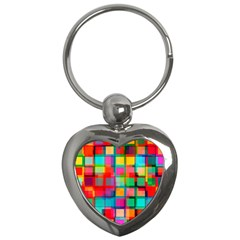 Plaid Line Color Rainbow Red Orange Blue Chevron Key Chains (heart)  by Mariart
