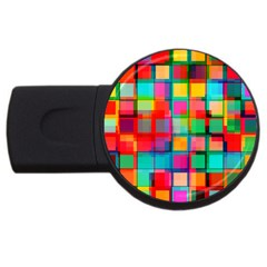 Plaid Line Color Rainbow Red Orange Blue Chevron Usb Flash Drive Round (4 Gb) by Mariart