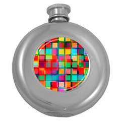 Plaid Line Color Rainbow Red Orange Blue Chevron Round Hip Flask (5 Oz) by Mariart