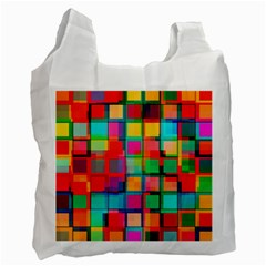 Plaid Line Color Rainbow Red Orange Blue Chevron Recycle Bag (one Side) by Mariart