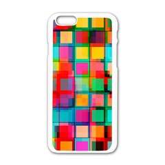 Plaid Line Color Rainbow Red Orange Blue Chevron Apple Iphone 6/6s White Enamel Case by Mariart
