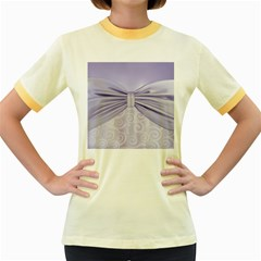 Ribbon Purple Sexy Women s Fitted Ringer T Shirts