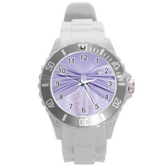 Ribbon Purple Sexy Round Plastic Sport Watch (l) by Mariart