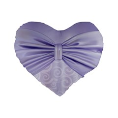 Ribbon Purple Sexy Standard 16  Premium Heart Shape Cushions by Mariart