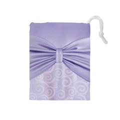 Ribbon Purple Sexy Drawstring Pouches (medium)  by Mariart