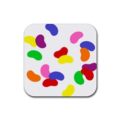Seed Beans Color Rainbow Rubber Square Coaster (4 Pack)