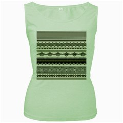 Plaid Circle Polka Dot Star Flower Floral Wave Chevron Triangle Women s Green Tank Top by Mariart
