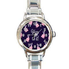 Rabbit Bunny Pink Purple Easter Animals Round Italian Charm Watch by Mariart