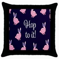Rabbit Bunny Pink Purple Easter Animals Throw Pillow Case (black) by Mariart
