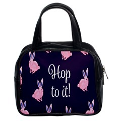 Rabbit Bunny Pink Purple Easter Animals Classic Handbags (2 Sides) by Mariart