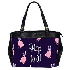 Rabbit Bunny Pink Purple Easter Animals Office Handbags (2 Sides)  by Mariart