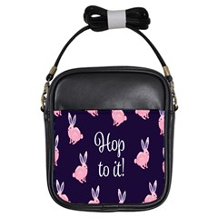 Rabbit Bunny Pink Purple Easter Animals Girls Sling Bags