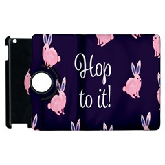 Rabbit Bunny Pink Purple Easter Animals Apple Ipad 3/4 Flip 360 Case by Mariart