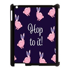 Rabbit Bunny Pink Purple Easter Animals Apple Ipad 3/4 Case (black) by Mariart