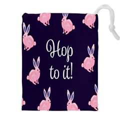 Rabbit Bunny Pink Purple Easter Animals Drawstring Pouches (xxl) by Mariart