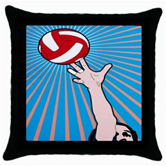 Volly Ball Sport Game Player Throw Pillow Case (black) by Mariart