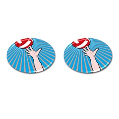 Volly Ball Sport Game Player Cufflinks (oval) by Mariart