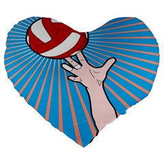 Volly Ball Sport Game Player Large 19  Premium Heart Shape Cushions by Mariart