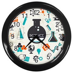 Science Chemistry Physics Wall Clocks (black) by Mariart