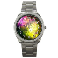Plaid Star Light Color Rainbow Yellow Purple Pink Gold Blue Sport Metal Watch by Mariart