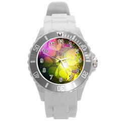 Plaid Star Light Color Rainbow Yellow Purple Pink Gold Blue Round Plastic Sport Watch (l) by Mariart