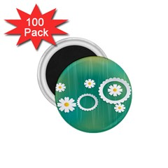 Sunflower Sakura Flower Floral Circle Green 1 75  Magnets (100 Pack)  by Mariart