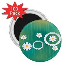 Sunflower Sakura Flower Floral Circle Green 2 25  Magnets (100 Pack)  by Mariart