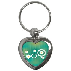 Sunflower Sakura Flower Floral Circle Green Key Chains (heart)  by Mariart
