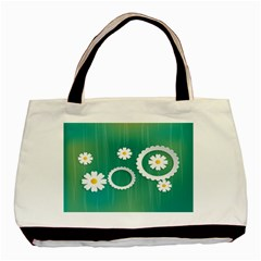 Sunflower Sakura Flower Floral Circle Green Basic Tote Bag (two Sides) by Mariart