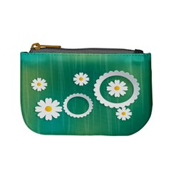 Sunflower Sakura Flower Floral Circle Green Mini Coin Purses by Mariart