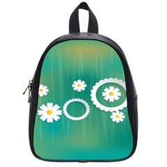 Sunflower Sakura Flower Floral Circle Green School Bags (small)  by Mariart