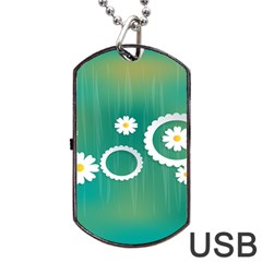 Sunflower Sakura Flower Floral Circle Green Dog Tag Usb Flash (two Sides) by Mariart