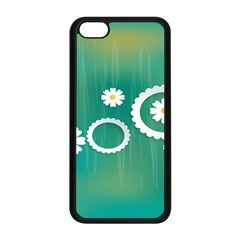 Sunflower Sakura Flower Floral Circle Green Apple Iphone 5c Seamless Case (black) by Mariart