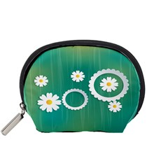 Sunflower Sakura Flower Floral Circle Green Accessory Pouches (small)  by Mariart